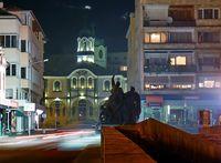 Поглед към църквата Успение Богородично от Баевия мост нощем; comments:20