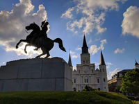 New Orleans, Louisiana, St. Louis Cathedral and General Andrew Jackson on his bronze horse; comments:3