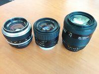 Nikkor: 50mm 1.4 MF, 100mm E 2.8 MF, 35-105 AF 3.5-4.5D
