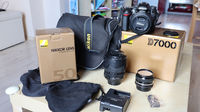 Nikon D7000 + AF-S 18-105mm + AF-S 50mm f/1.8G + Vintage 50mm + UV filters + Bag