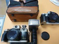 два лентови фотоапарата и светкавица AUTOMATIC CAMERA