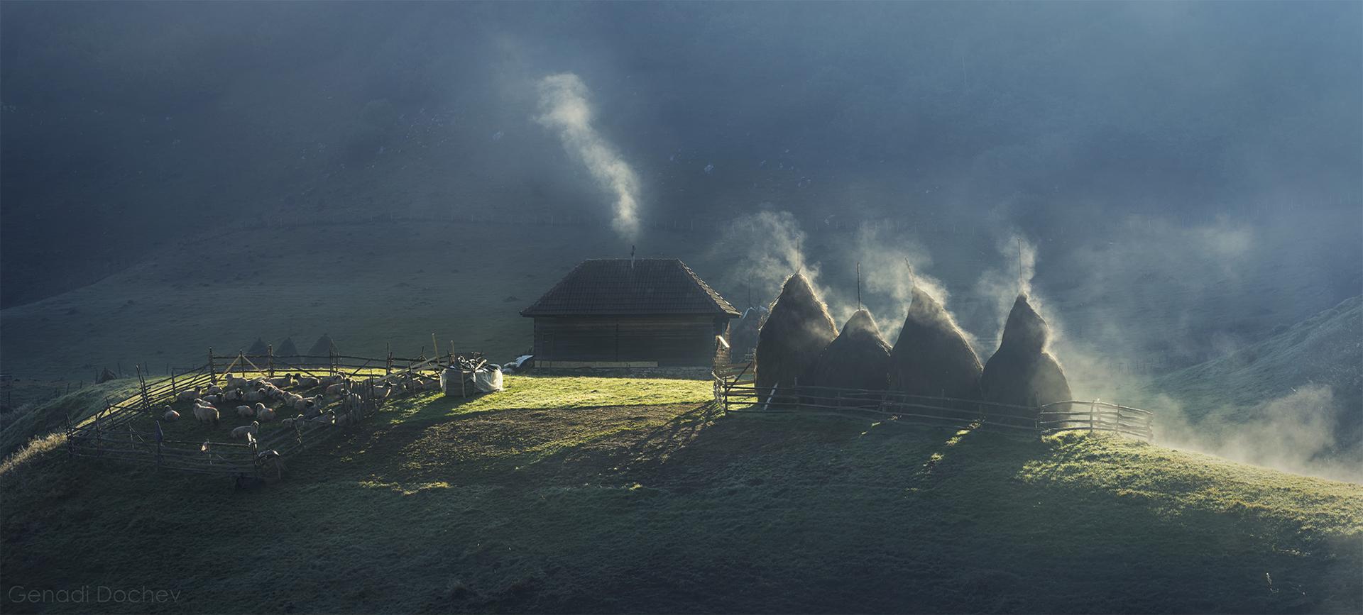 Селска идлия в Карпатите от Генади Дочев - ArtistGND