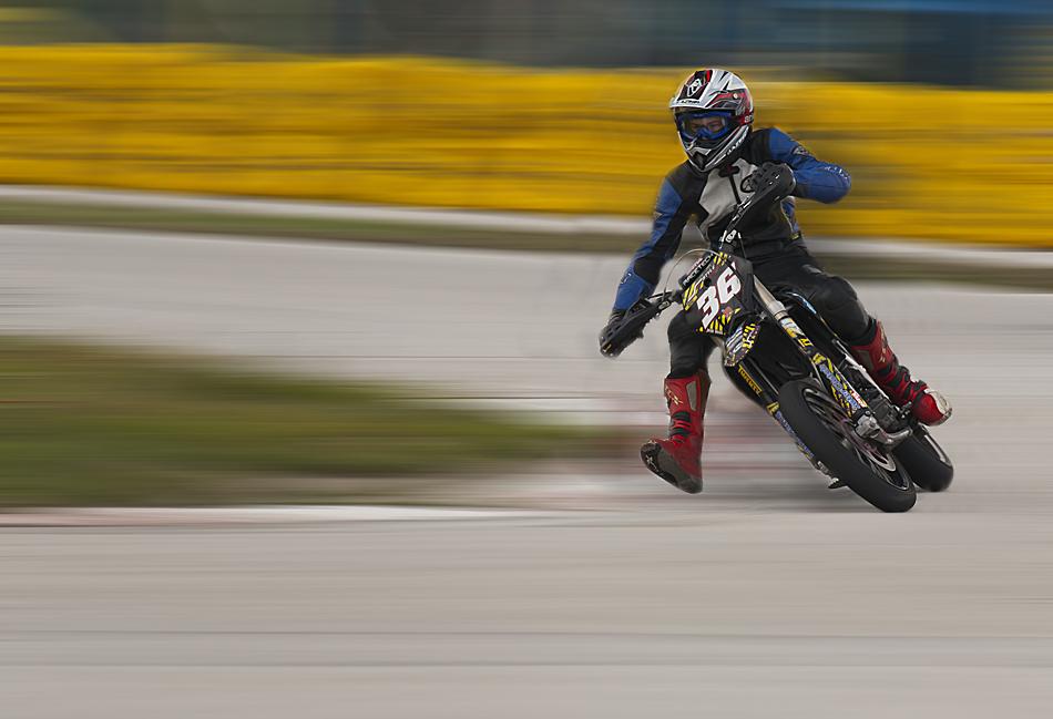 Supermoto rider in turn   Author black_panthera   PHOTO FORUM