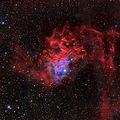 Мъглявината IC 405 (Flaming Star Nebula), заснетa в 6 филтъра - общо експ. време 2.5 часа - в съзвездието Колар (Auriga) ; comments:53