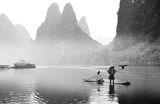 Cormorant fisherman on Li River, Guangxi province, China ; comments:98