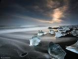 Icebergs on black lava sand beach, Jökulsárlón Beach, Iceland ; comments:117