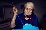 Баба Мика шие жилетчица на пра-внука си. ; Comments:14