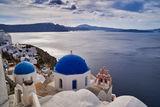 Santorini's famous blue domed tree bells church ; comments:10