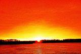 Огнено небе при изгрев над река Дунав ; comments:14