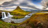 Панорамно Kirkjufellsfoss и Kirkjufell ; comments:15
