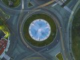 Един от фонтаните на Пазарджик от високо ; comments:5