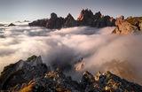 Мъгла под върховете Иглите в Доломити ; comments:21